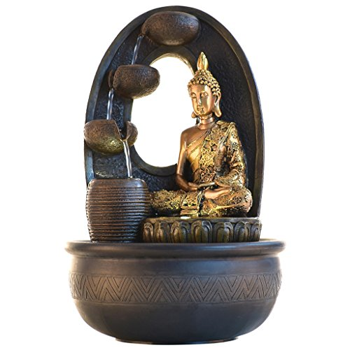Chronikle Polystone 4 Steps Budda Indoor Water Fountain With Moter Pump and Light