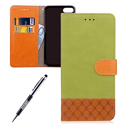 iPhone 7 Custodia, iPhone 7 Custodia Portafoglio, iPhone 7 Cover Pelle, JAWSEU Lusso Denim Pelle Patchwork Flip Cover Custodia per iPhone 7 Cover Copertura con Morbida Gel Silicone Case e Porta carte Denim Verde