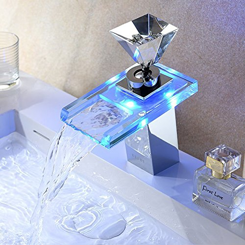 Derpras LED RGB Armatur Wasserfall Wasserhahn Einhebelmischer Waschtisch Mischbatterie Badarmatur und Waschtischbatterie Waschbeckenarmatur mit Glas