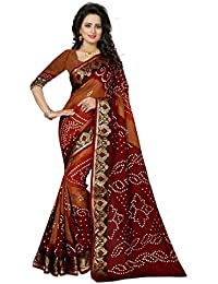 Premium Choice Women's Cotton Silk Saree With Blouse Piece (1160_Orange And Maroon)