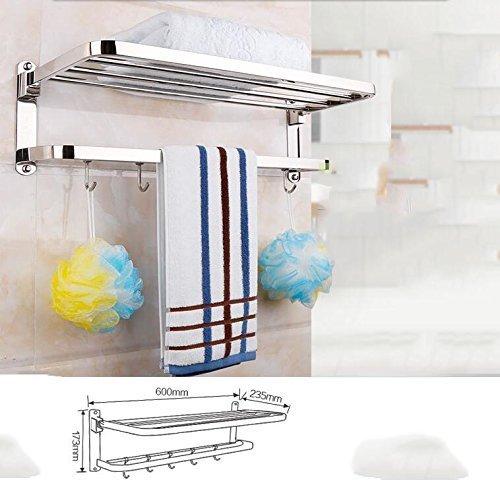 Yetta Regal-WC-Lagerregal Folding Towel Rack Edelstahl 304 Badezimmer-Hardware-Anhänger (Handtuchhalter/Toilettenbürste/Tissue-Box) Wandbehang Rack (Shelf Hardware Folding)