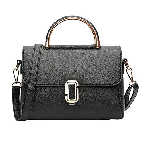 Damen-Tasche Schultertasche Handtasche Messenger Bag Lock Shell Shell Freizeit Mode Atmosphäre Wild Black