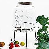 BADA BING Großer Getränkespender 8 l aus Glas mit Zapfhahn und Deckel + Mineralstoff Fibel (Getzränkespender mit Ständer)