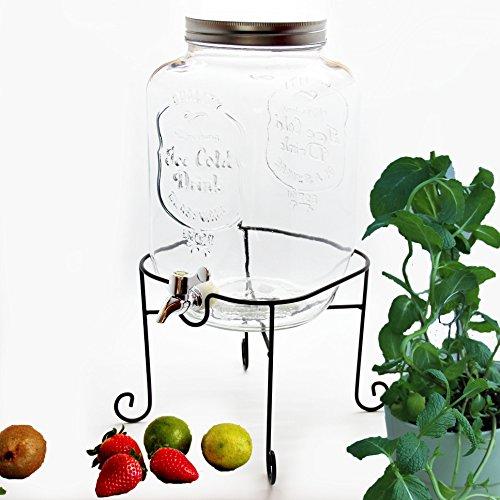 Bada Bing Großer Getränkespender 8l aus Glas mit Zapfhahn und Deckel Inkl. Ständer