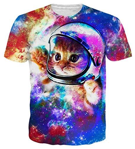 1af32e456e Loveternal Unisexe Chat Astronaute Funny T-Shirt Réaliste 3D Motif Imprimé  Tee Shirt Drole Casual À Manches Courtes Tops Tees XL