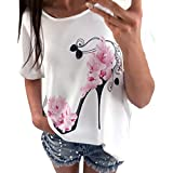 OVERDOSE Frauen Kurzarm Blumen Pumps Gedruckt Tops Strand Beiläufige Lose Bluse Top T-Shirt(Weiß,EU-42/CN-XL