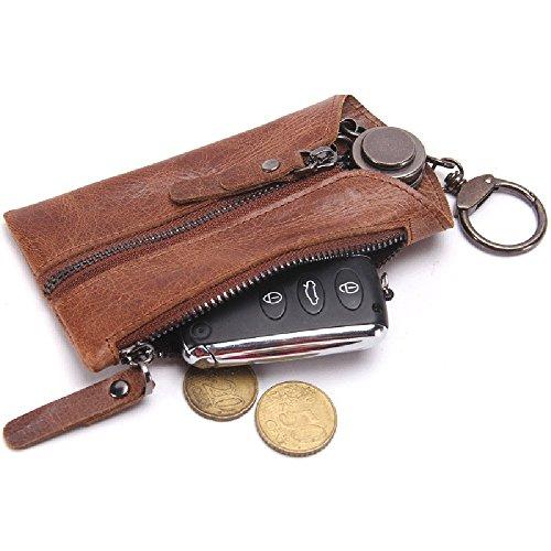 Preisvergleich Produktbild inebiz KFZ Schlüssel aus echtem Leder Geldbörse Reißverschluss Fall Medaille Kartenhalter mit 6Haken für automatische Fernbedienung Schlüsselanhänger