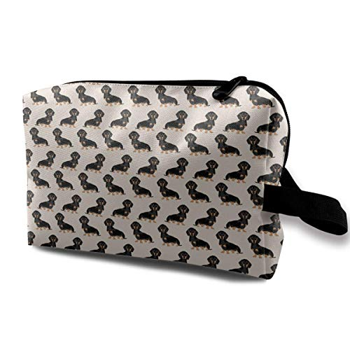 Cute Dachshund Or Doxie Pattern Gift Toiletry Bag Womens Travel Cosmetic Bags Lightweight Waterproof Case
