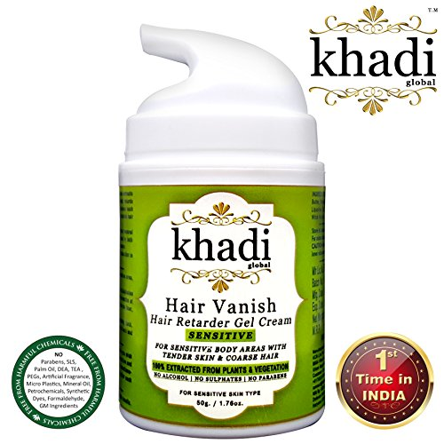 Khadi Global Hair Vanish Sensitive Hair Retarder Gel Cream For Sensitive Body Areas such as Underarm & Bikini Zone With Tender Skin & Coarse Hair, Gives Permanent Freedom From Unwanted Hair, For Both Male & Female, 100% Natural Hair Retarder Extracted From Plants & Vegetations 50gm.