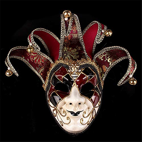 TTXLY Clown Maske gemalt Halloween Party Masken High-End venezianischen Jester Joker Maske Maskerade handgemalte Wand dekorative Kunst Sammlung Mardi Gras Party,Red