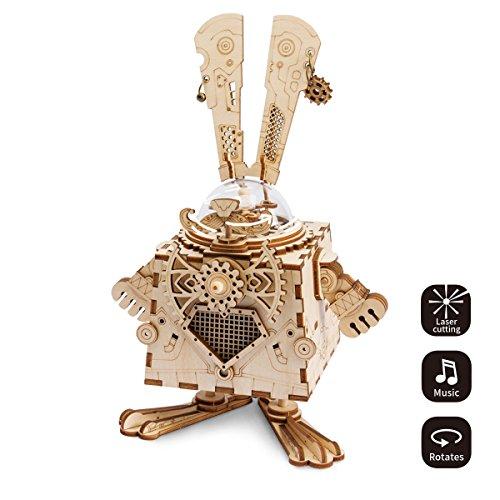 ROBOTIME Laser-Schnitt-hölzernes Puzzlespiel-DIY Mechanismus-Spieluhr-hölzernes Modell Gebäude-Geburtstags- und Weihnachtsgeschenke für Kinder und Erwachsene (Bunny) (Roboter-diy)