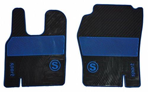 Preisvergleich Produktbild Gummi Fußmatten passend für LKW AUTOMATIKGETRIEBE und SCHALTGETRIEBE von 2000 bis 2016 Jahre Zubehör Truck Dekoration Schwarz Blau Matten