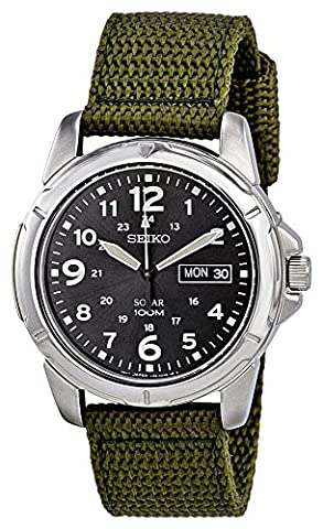 Seiko Men's Solar Military Fabric Strap Watch - SNE095