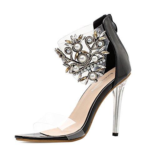 Women's sandals Damen Sandalen Stöckelschuhe Sommer Neue Pearl Horse Eye Glas Schuhen, Fisch Mund Patent Leder Transparent Film Zehenöffnung High Heels, EU36/UK4 Criss Cross Wedge Sandal