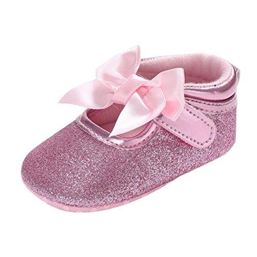 cinnamou Prinzessin Ballett Schuhe Baby-beiläufige einzelne Schuhe Soft Sole Krippe Schuhe - Anti-Rutsch-Wanderer Prewalker für Baby Mädchen Jungen 0-6 Monat 6-12 Monat 12-18 Monat (0~6 Monate, Rose) -