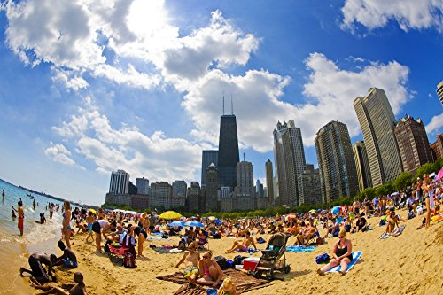 The Poster Corp Panoramic Images - Tourists on a Beach Oak Street Beach Lake Shore Drive Lake Michigan Chicago Cook County Illinois USA Photo Print (91,44 x 30,48 cm)