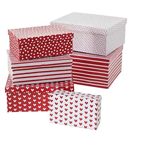 Paper collection casa arredamento accessori decorativi organizzazione contenitori set da 6 scatole in cartone motivo pois e righe cuori bianco e rosso dimensioni varie
