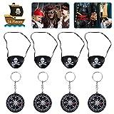 OZUAR 24 Stück Piraten Spielzeug Set, 12 Stück Augenklappen Pirat mit Gummiband 8 * 6cm und 12 Stück Kompass Keychain 4,5 * 4,5 cm für Pirate Karneval Pirate Kostüm Party Kinder Schwarz und Silber