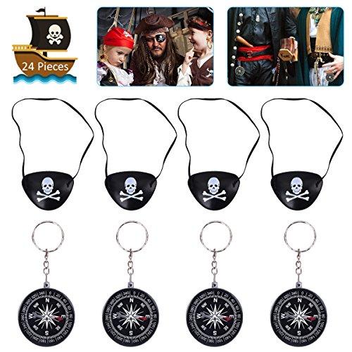 (OZUAR 24 Stück Piraten Spielzeug Set, 12 Stück Augenklappen Pirat mit Gummiband 8 * 6cm und 12 Stück Kompass Keychain 4,5 * 4,5 cm für Pirate Karneval Pirate Kostüm Party Kinder Schwarz und Silber)