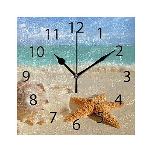 XiangHeFu Wanduhr, quadratisch, 20,3 x 20,3 cm, leise, Tropische Seestern, Sand-Muscheln, Dekoration für Zuhause, Büro, Schule