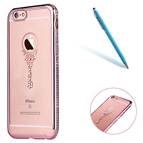 "iPhone 6Plus/6sPlus 5.5""(NON iPhone 6/6s 4.7"") Couverture, CLTPY Crystal Clear Shiny Scintillement Cadre étincelant Housse TPU Silicone Clear Transparente Ultra Mince Premium Flexible Coquille pour iP Miroir Or Rose"