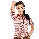 ALMBOCK Trachtenbluse Damen langarm | Karierte Bluse wein-rot kariert aus 100% Baumwolle | Festliche Blusen in Größe 34-46