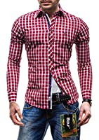 BOLF Langarm Herrenhemd Hemd Figurbetont Freizeit Slim Fit 4747