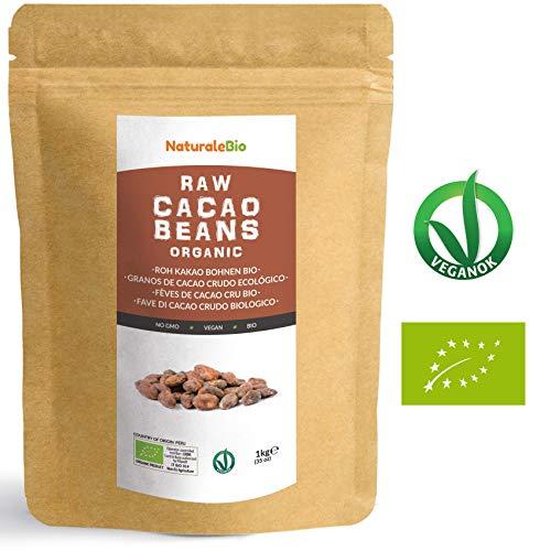 Roh Kakaobohnen Bio 1Kg | Organic Raw Cacao Beans | 100 % Rohkost, Natürlich, Rein | Produziert in Peru aus der Theobroma Cocoa Pflanze | Superfood reich an Antioxidantien, Mineralien und Vitaminen.
