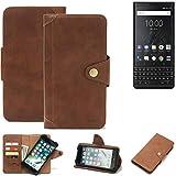 K-S-Trade Handy Hülle für BlackBerry KEY2 (Dual-SIM) Schutzhülle Walletcase Bookstyle Tasche Handyhülle Schutz Case Handytasche Wallet Flipcase Cover PU Braun (1x)