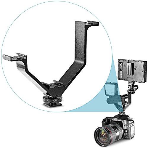 Neewer® Aluminium Legierung 12,7cm/12,5cm V-Form Triple 3Universal Cold Shoe Mount Halterung für Nikon Canon Sony Pentax DSLR Kamera oder Camcorder Zubehör wie LED-Videoleuchte, Mikrofon, Monitor, Flash