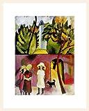 August Macke Poster Kunstdruck Bild Drei Mädchen mit Hund vor Gartentor, 1913 36x28cm im Holz Rahmen in Ahorn weiss lasiert