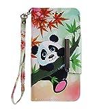 Shengheng Custodia in Pelle per Samsung Galaxy J6 Plus,Custodia in PU Sottile Libro Stile con Chiusura Magnetica Custodia in Portafoglio Flip Cover con Supporto Stand Porta Carte - Panda di bambù
