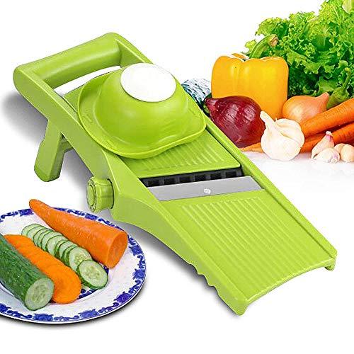 Aibesser Mandoline Gemüsehobel 3 in 1 Gemüseschneider Profi Gemüsereibe Kartoffelschneider, Manuelle Essen Slicer, Obstschneider, Pflanzliche Slicer, Börner Gemüsehobel Reiben, Einfach (Grün) (Grün) (Reibe Slicer Set Mandoline)