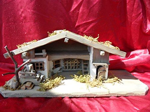 Arbrikadrex Verschiedene Weihnachtskrippen Holz Schreinerarbeit Douglasienholz Handarbeit Krippe mit und ohne Figuren Krippen-stall Weihnachten (Weihnachtskrippe, Greta)