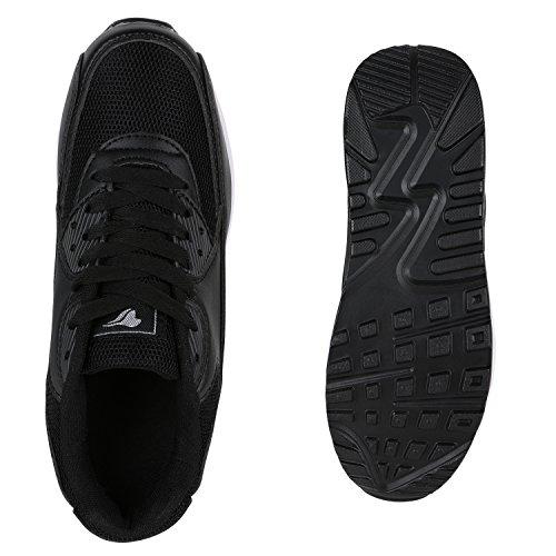 Stiefelparadies Unisex Sportschuhe Damen Herren Sneaker Laufschuhe Neon Camouflage Metallic Schuhe Glitzer Leder-Optik Übergrößen Flandell Schwarz Avelar