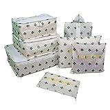 Yiran 7Set Organizadores de viajes Cubos de embalaje Bolsa de lavandería Bolsas de compresión de organizador de bolsa para la ropa, cosmético,zapato (Cactus)