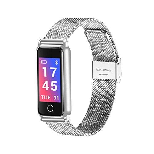 Silber, Glas, Audio (Fuibo Smartwatch, Y8 Smart Armband Armbanduhr Metall Heartrate Tracker Wasserdichtes IP67 Armband Intelligente Armbanduhr Sport Fitness Tracker Armband (Silber))