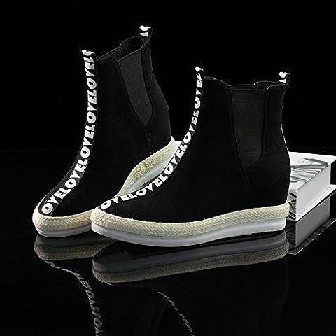 San Macchia stivali Biker in pelle nuovo in autunno e lettera cilindro basso inverno aumenta colore corrispondenza entro il breve stivali donna , black , 38