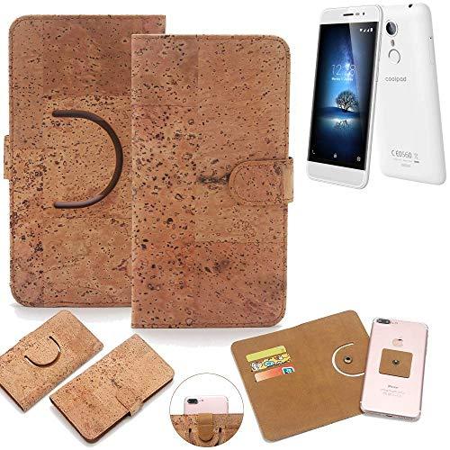 K-S-Trade Schutz Hülle für coolpad Torino S Handyhülle Kork Handy Tasche Korkhülle Schutzhülle Handytasche Wallet Case Walletcase Flip Cover Smartphone