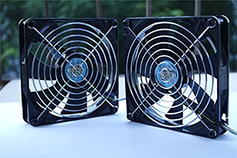 ( 2-PACK) 14CM with grill Dual Ball Bearing fan Cooling fan for pc, Computer Cases, CPU Coolers, and Radiators,TV-BOX (PWM , 140mm)