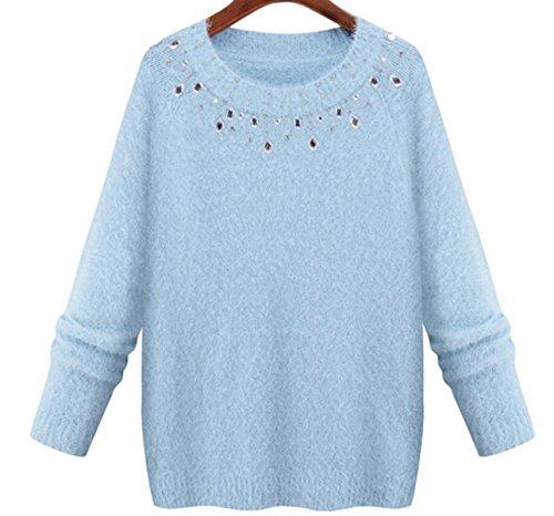 Casual Grand Pull à Manches Longues De Lautomne Des Femmes De Taille Et Lhiver Chemise Tricot Chemise à Manches Longues blue