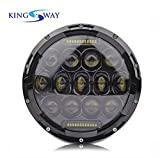 #8: Kingsway Harley Style 13 LED Head Lights with DRL for Royal Enfield Classic 350 (7-inch, DOT Chrome Housing, Multi Beam)