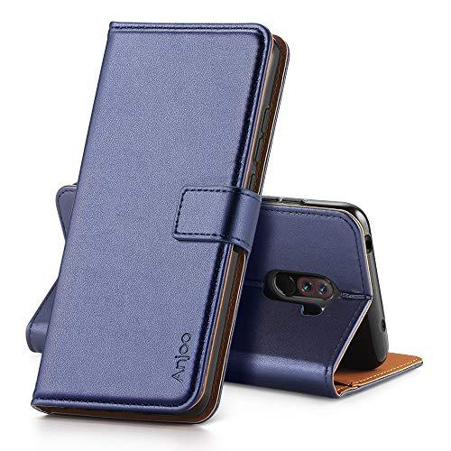 Anjoo für Xiaomi Pocophone F1 Hülle, Handyhülle Tasche Premium Leder Flip Wallet Case für Xiaomi Pocophone F1 [Standfunktion] [Kartenfächern] [Magnetic Closure Snap], Blau