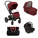 Joie Chrome Kombi-Kinderwagen 3in1 Set Inklusive Babywanne & Gemm (Cranberry)