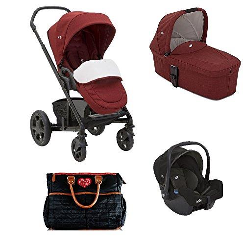 Joie Chrome Kombi-Kinderwagen 3in1 Set Inklusive Babywanne & Gemm (Cranberry)