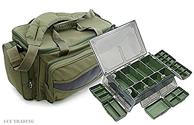 Carp Fishing Holdall Tackle Bag + Tackle Box Storage System Luggage Combo