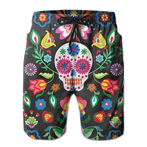 dehose Sommer 3D Print Mexican Sugar Skulls Tag der Toten Blumen Grafik lässig sportlich Schwimmen Short ()