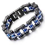 YSM Bracelet en acier inoxydable Bracelet en chaîne de moto 220mm Bracelet en argent noir et noir avec largeur 16 mm