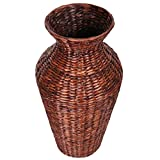 Eshow Rattan Blumentopf Pflanztopf Vase Bodenvase Blumenschmuck Home Decor rund ca. 30L, Braun