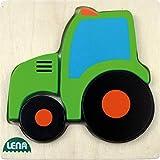 Lena 32079 - Holzpuzzle Traktor, Kinderpuzzle mit Grundplatte 14 x 14 cm und 4 Puzzleteilen, Teile und Platte aus 100% FSC Holz, Puzzlespiel für Kinder ab 18+ Monaten, Legespiel für Kleinkinder